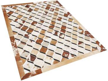 Tapis patchwork marron à motif 3D en peau de vache naturelle 160 x 230 cm