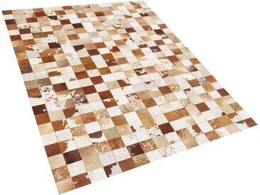 Tapis patchwork en peau de vache marron et blanc cassé 160 x 230 cm