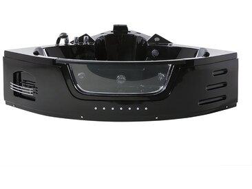 Baignoire balnéo noire angle avec LED et fonction de massage MARTINICA
