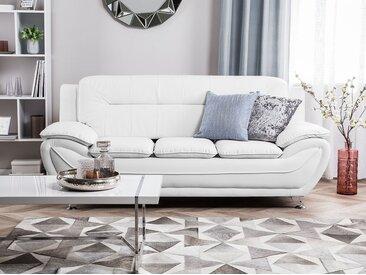 Canapé 3 places en simili-cuir blanc LEIRA