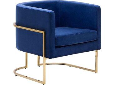 Fauteuil cabriolet design en velours bleu foncé et structure dorée