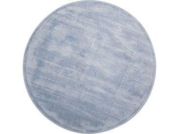 Tapis rond en viscose bleu clair 140 cm de diamètre