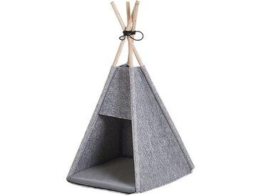 Niche pour chat en forme de tente tipi en feutre gris clair