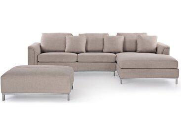Canapé d'angle en tissu beige L avec un ottoman inclus