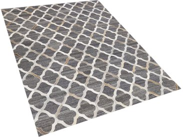 Tapis gris et beige motif marocain en peau de vache et tissu 160 x 230 cm