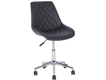 Chaise à roulette en simili cuir noir MARIBEL
