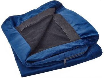 Housse amovible en velours bleu marine pour canapé 3 places
