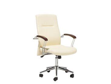 Chaise de bureau en simili cuir beige ELECT