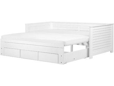 Lit gigogne 90 x 200 cm moderne en bois d'hévéa blanc