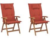 Set de 2 chaises pliables en bois d'acacia