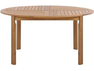 Table d'extérieur ronde en bois d'acacia clair 4 places