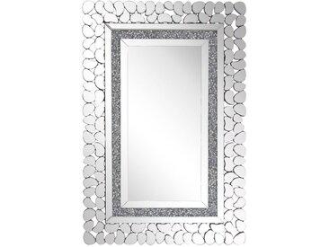Miroir mural rectangulaire avec cadre décoratif effet cristaux et pierres