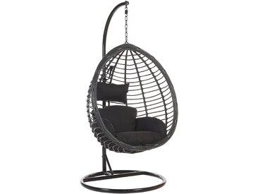 Fauteuil suspendu design boho avec coussin noir assorti et pied en acier