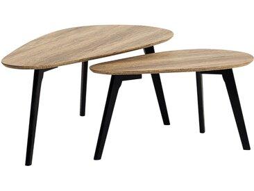 2 tables gigognes scandinaves avec plateaux effet bois clair et pieds noirs