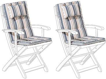 2 coussins moelleux en tissu beige et bleu anti-UV pour chaises de jardin