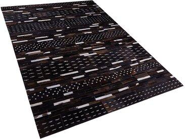 Tapis en peau de vache naturelle et laine motif patchwork 140 x 200 cm