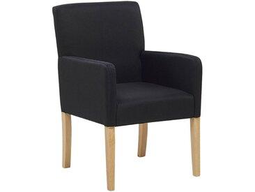 Chaise rembourrée noire avec pieds en bois et accoudoirs