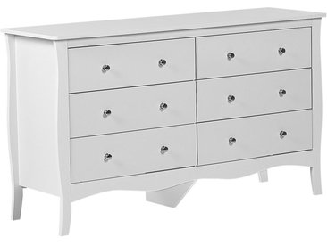 Commode au style vintage blanche avec 6 tiroirs spacieux
