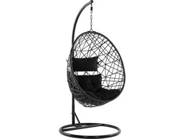 Fauteuil oeuf suspendu avec support en rotin noir pour intérieur et extérieur
