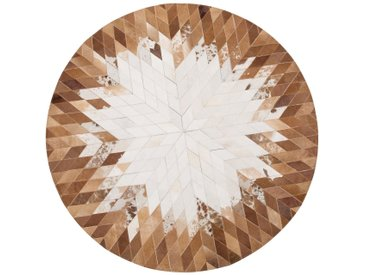 Tapis patchwork rond marron/blanc au style moderne
