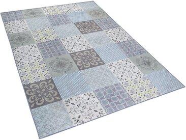 Tapis 140 x 200 cm en tissu patchwork mosaïque multicolore