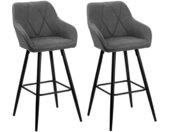 Lot de 2 chaises de bar grises modernes