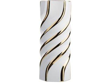 Vase blanc en céramique avec éléments dorés