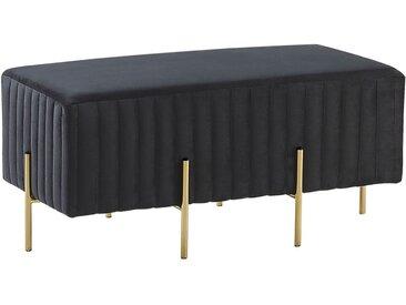 Bout de lit en velours noir avec structure en métal doré