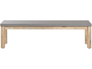 Banc de jardin effet béton gris avec pieds en bois d'acacia clair