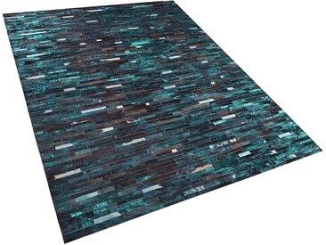Tapis en peau de vache naturelle patchwork marron et bleu 160 x 230 cm