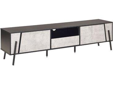 Meuble TV noir et effet béton au style industriel et minimaliste