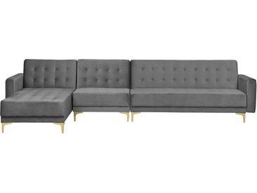 Canapé d'angle moderne en tissu gris