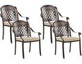 4 chaises de jardin vintage en aluminum marron vieilli avec coussins beiges