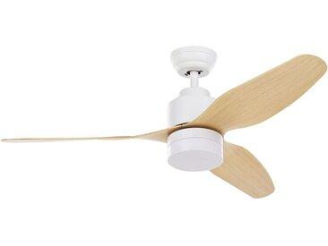 Ventilateur de plafond scandinave blanc et pales effet bois