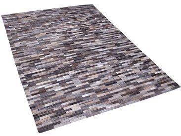 Tapis en cuir gris/marron 140 x 200 cm AHILLI