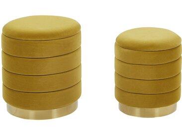 2 poufs coffres de rangement en velours jaune moutarde avec bases dorées