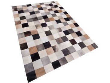 Tapis patchwork beige et marron en peau 200 x 300 cm
