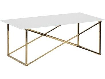 Table basse moderne avec plateau blanc et structure dorée