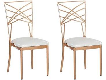 2 chaises de salle à manger en métal rose doré et assise en simili-cuir blanc