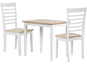 Salle à manger complète table 80 x 60 cm 2 chaises en bois au style scandinave