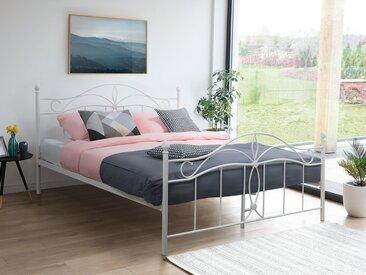 Lit métalique blanc 180x200 cm design romantique ANTLIA