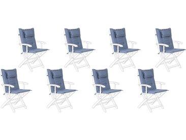 8 coussins moelleux en tissu bleu anti-UV pour chaises de jardin