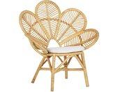 Chaise petit fauteuil en rotin naturel avec dossier décoratif