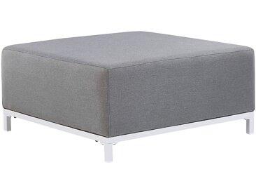 Pouf ottoman pour intérieur et extérieur en tissu anti-UV gris pieds blancs