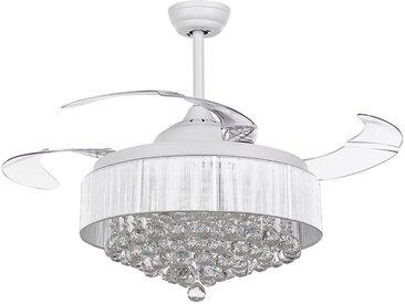 Ventilateur de plafond style glamour avec pales transparentes