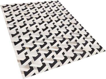 Tapis en peau de vache naturelle noir et gris à motif 3D 160 x 230 cm
