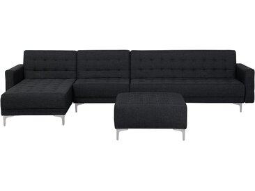 Canapé d'angle côté droit gris graphite avec ottoman inclus
