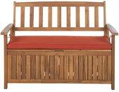 Banc coffre de rangement en bois d'acacia avec coussin pour jardin ou terrasse