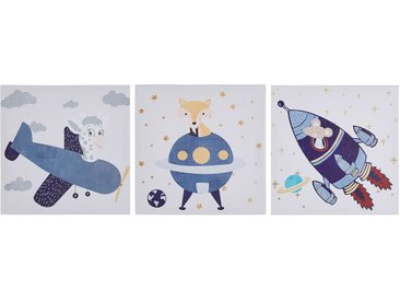 Set de 3 toiles imprimées multicolores pour chambre d'enfant 30 x 30 cm
