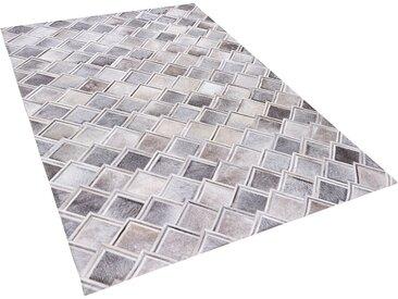 Tapis patchwork en cuir gris avec motifs imitation pavé
